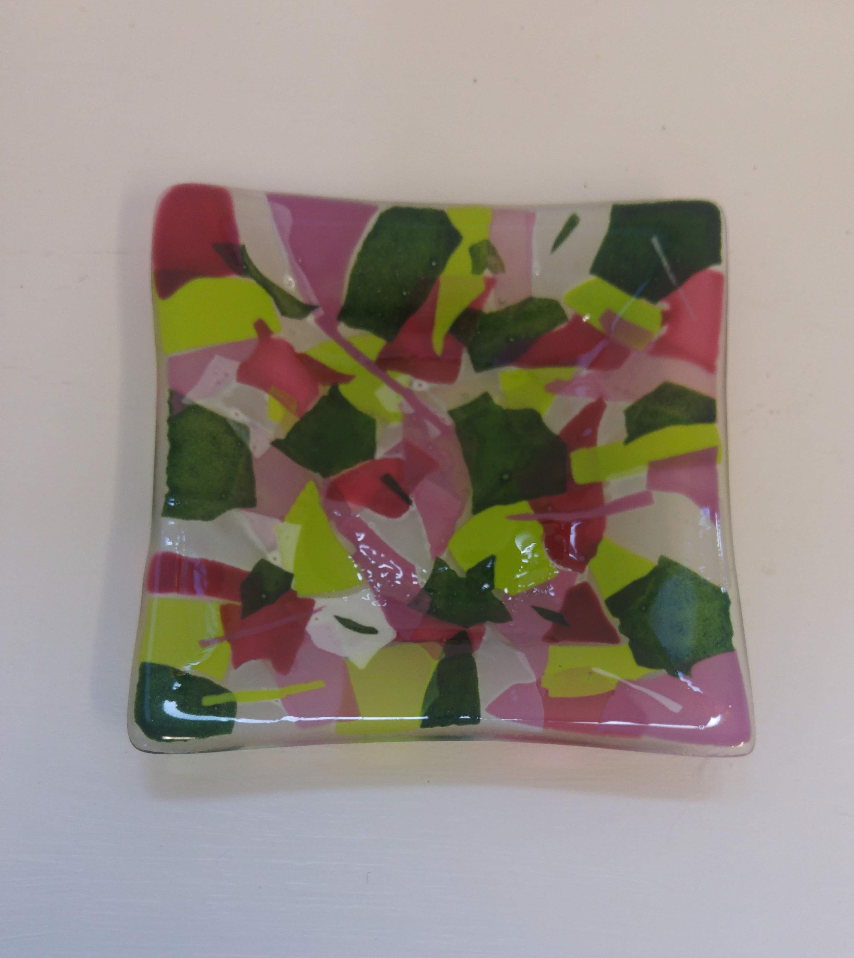 Pink, Green and White Confetti Dish