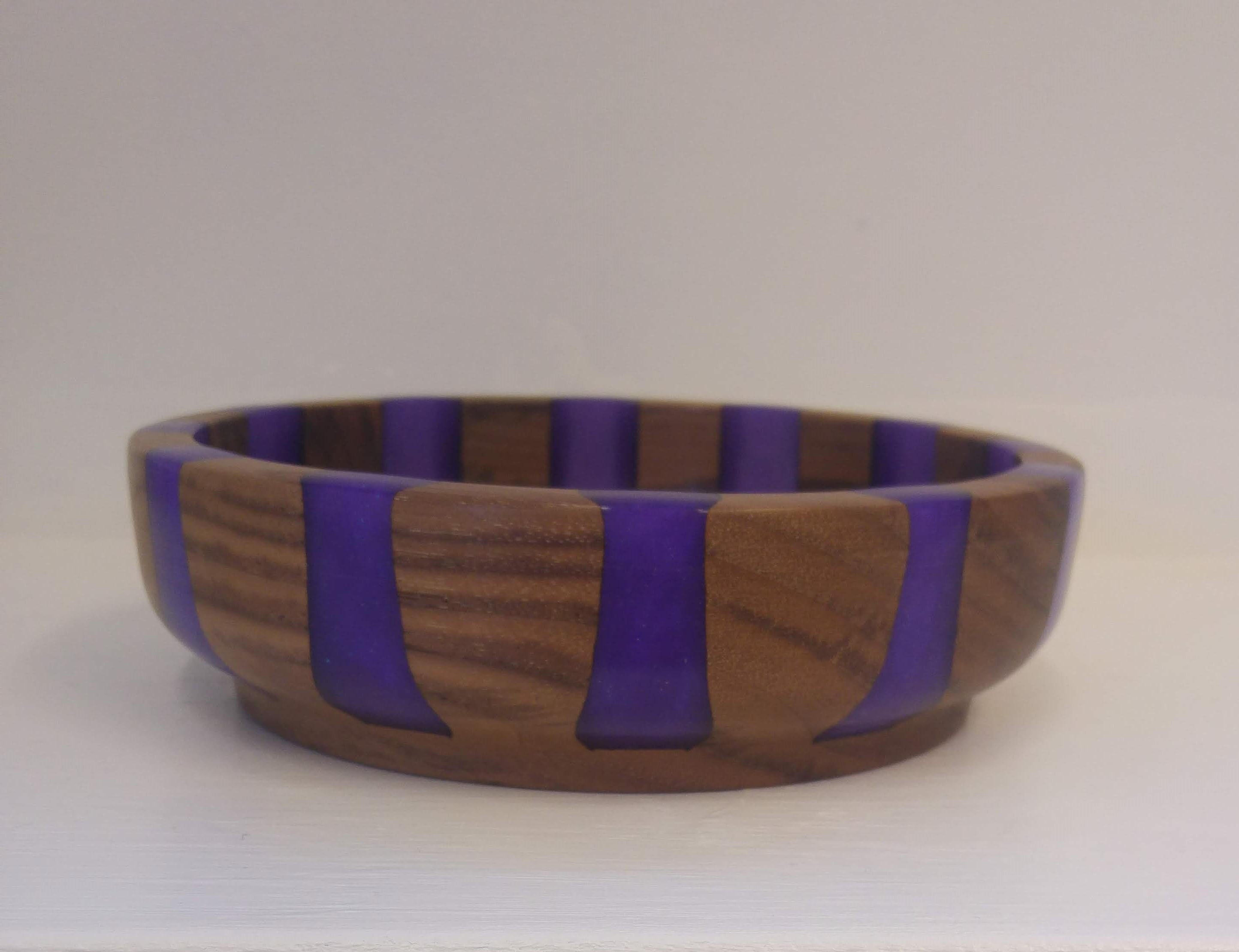 Walnut and Purple Resin Dish