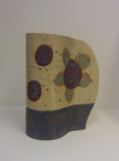 Red Rose Stoneware Vase