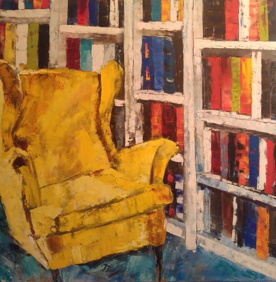 Yellow Chair and Bookcase